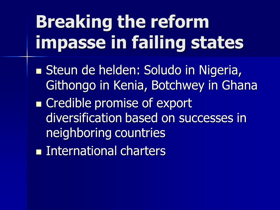 Breaking the reform impasse in failing states