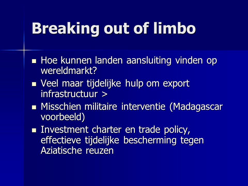 Breaking out of limbo Hoe kunnen landen aansluiting vinden op wereldmarkt Veel maar tijdelijke hulp om export infrastructuur >