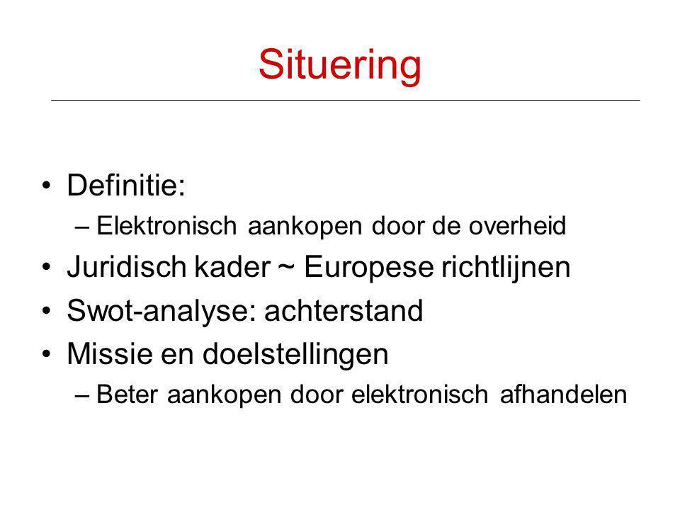 Situering Definitie: Juridisch kader ~ Europese richtlijnen