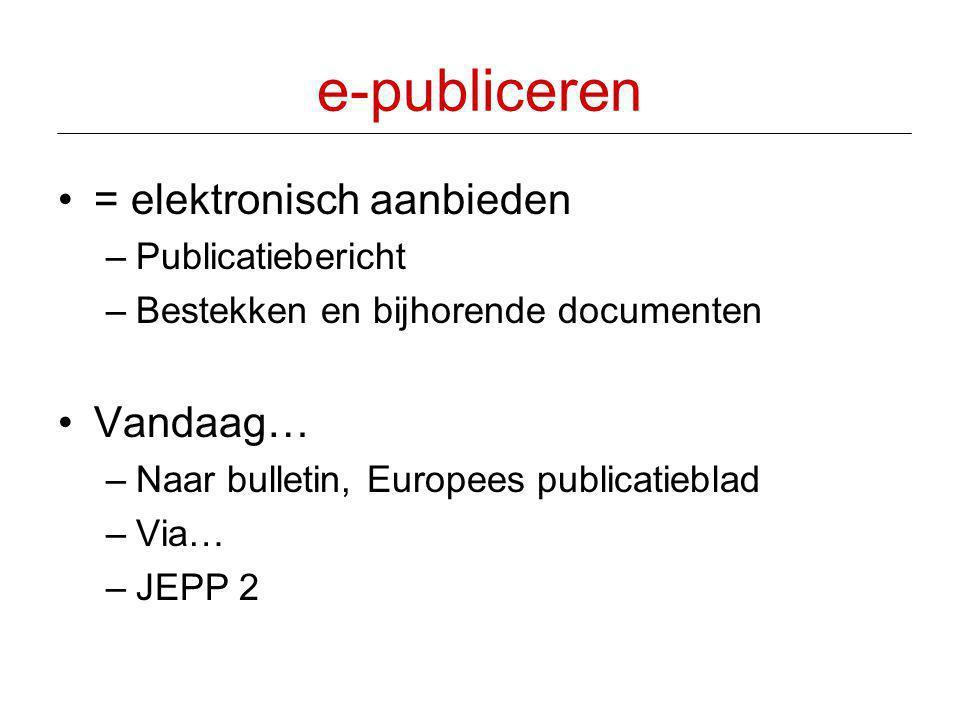 e-publiceren = elektronisch aanbieden Vandaag… Publicatiebericht
