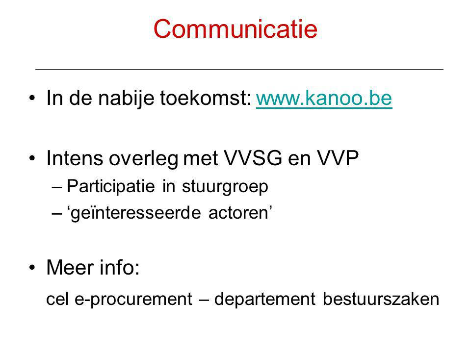 Communicatie In de nabije toekomst: www.kanoo.be