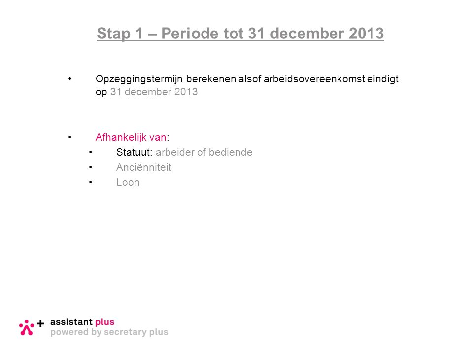 Stap 1 – Periode tot 31 december 2013