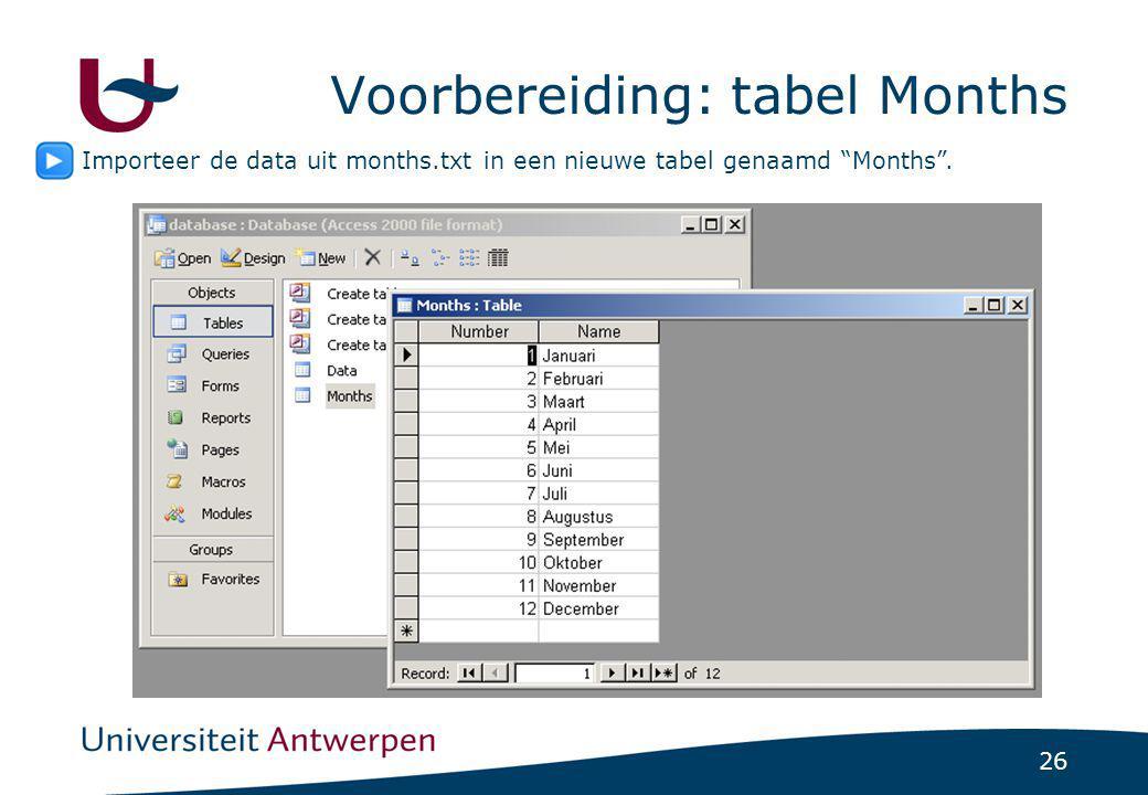 Voorbereiding: tabel Months