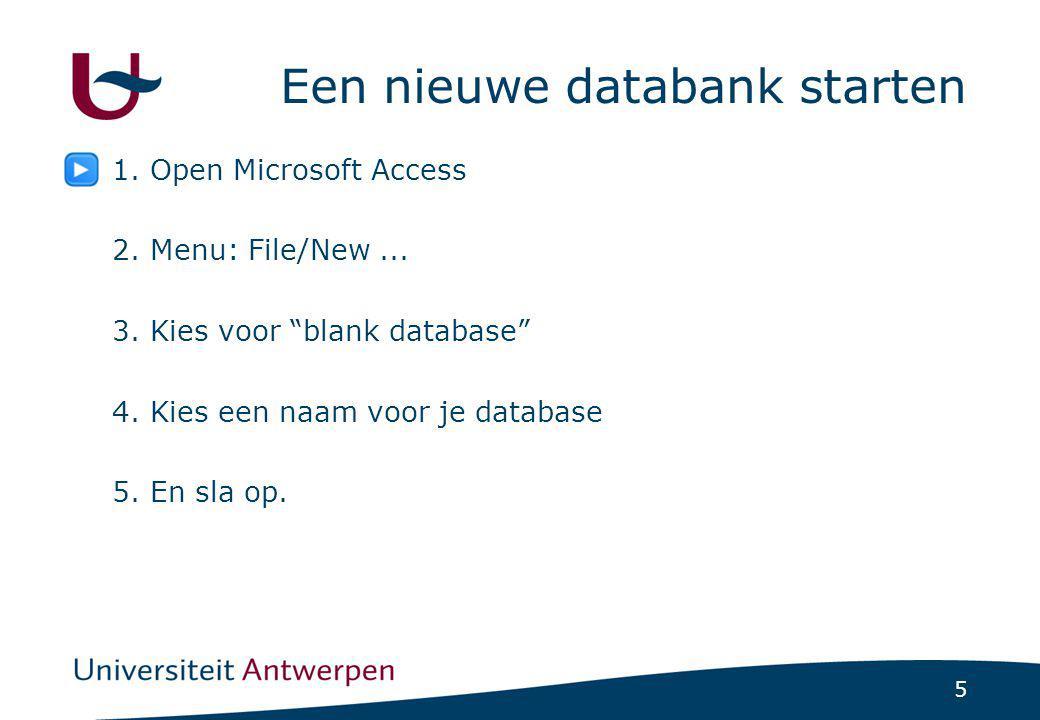 Een nieuwe databank starten