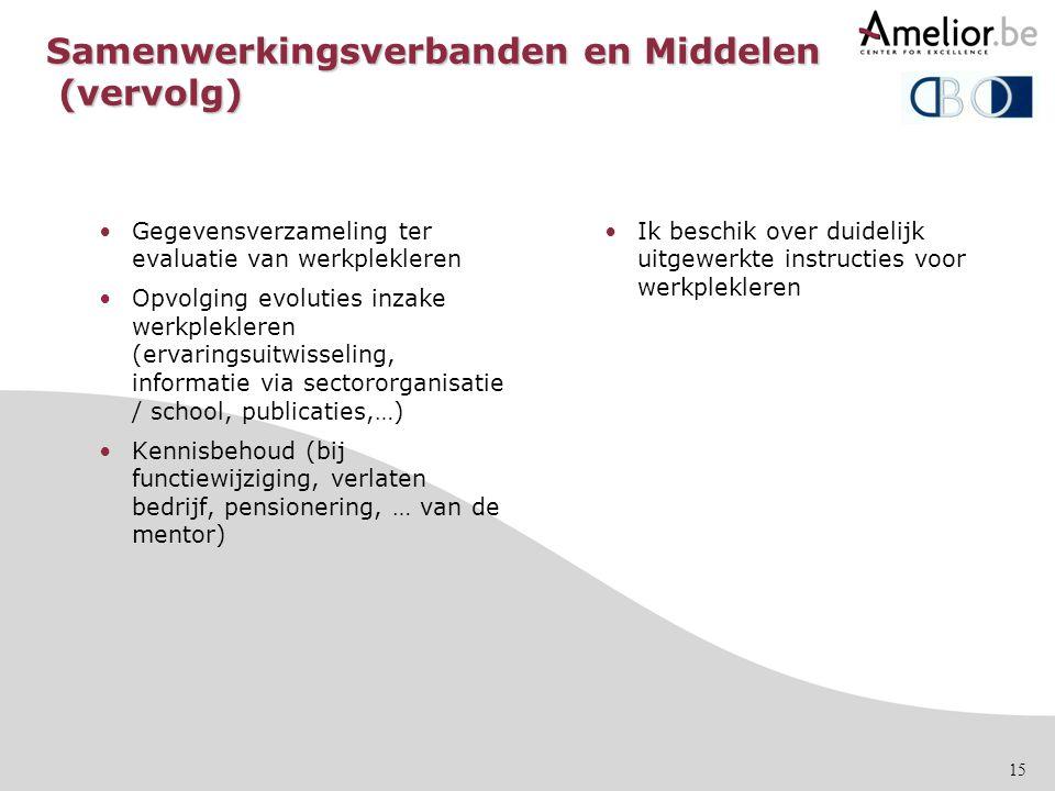 Samenwerkingsverbanden en Middelen (vervolg)