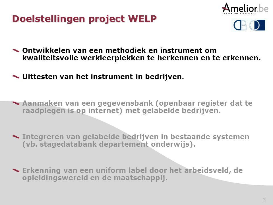 Doelstellingen project WELP