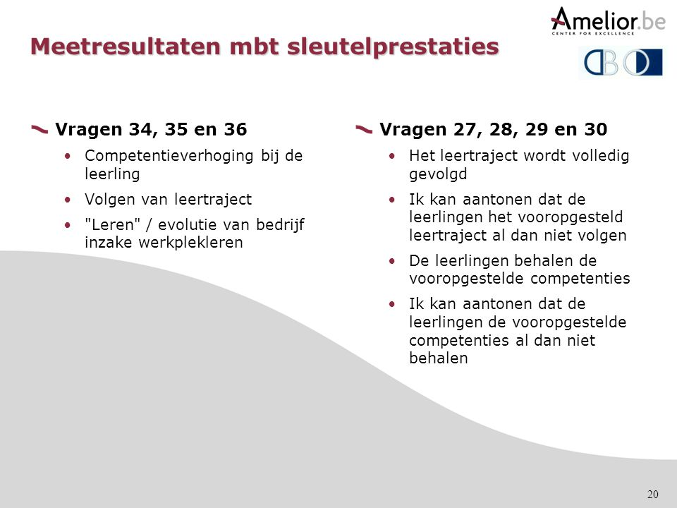 Meetresultaten mbt sleutelprestaties