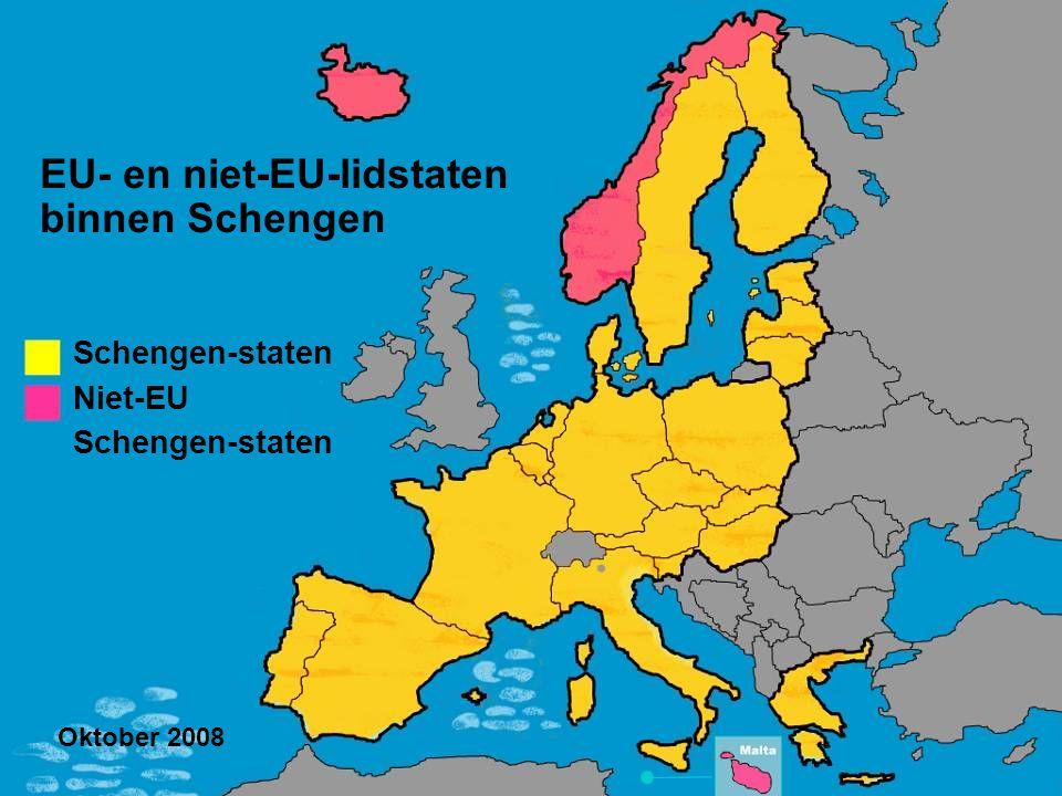 EU- en niet-EU-lidstaten binnen Schengen