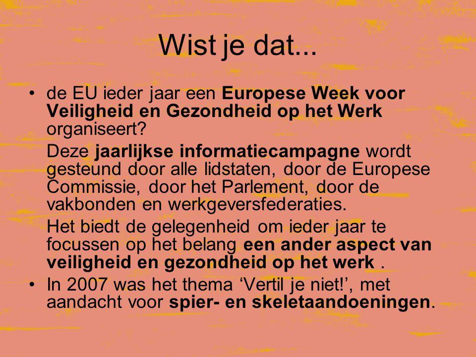 Wist je dat... de EU ieder jaar een Europese Week voor Veiligheid en Gezondheid op het Werk organiseert