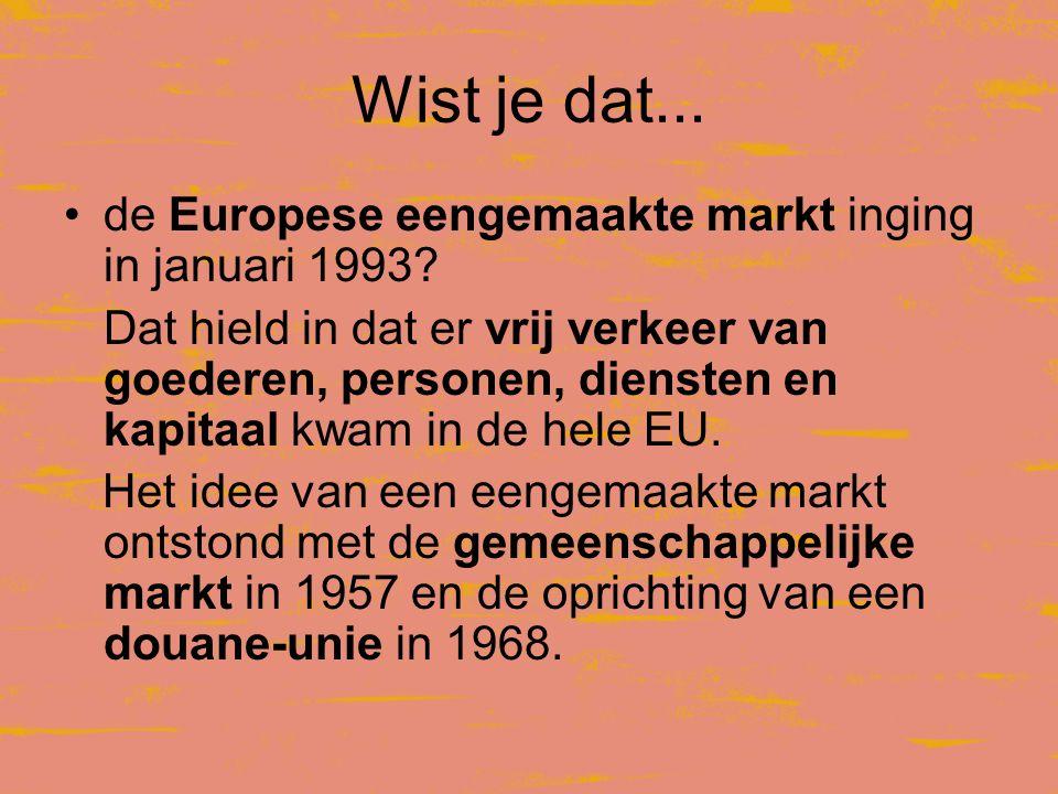 Wist je dat... de Europese eengemaakte markt inging in januari 1993