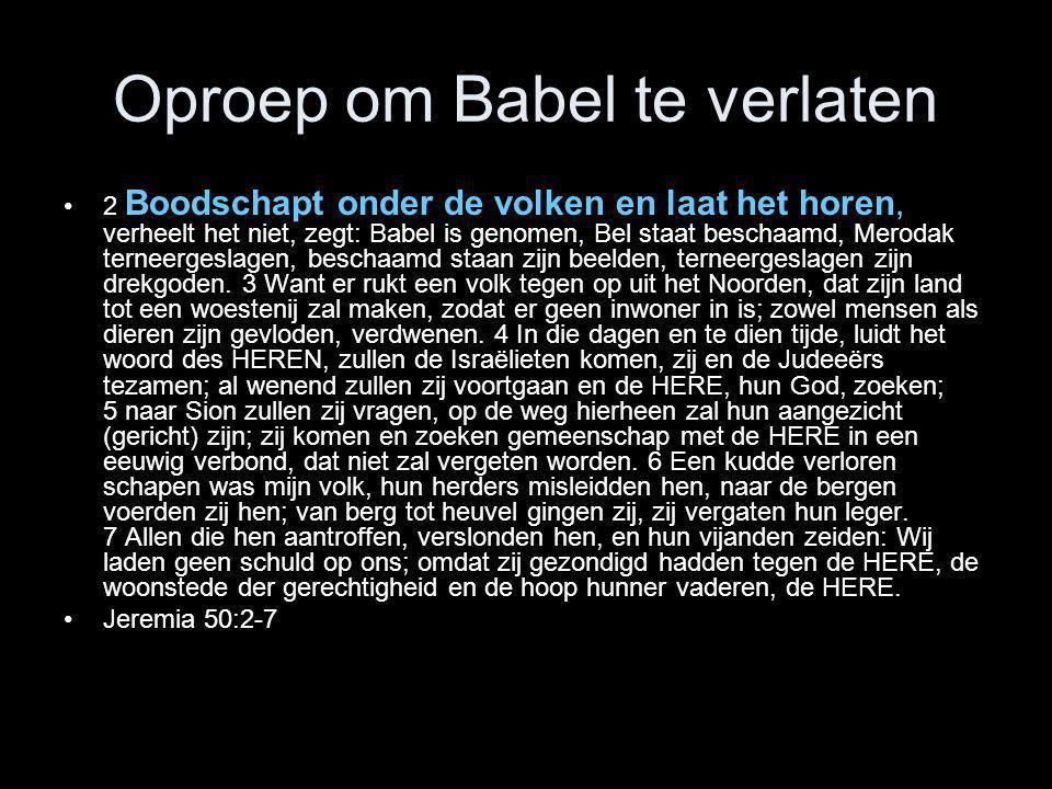 Oproep om Babel te verlaten