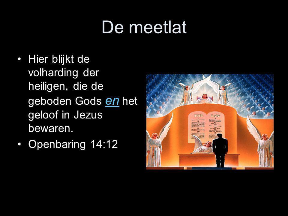 De meetlat Hier blijkt de volharding der heiligen, die de geboden Gods en het geloof in Jezus bewaren.