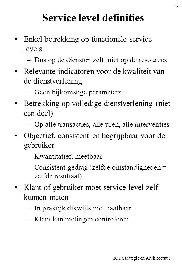 Service level definities