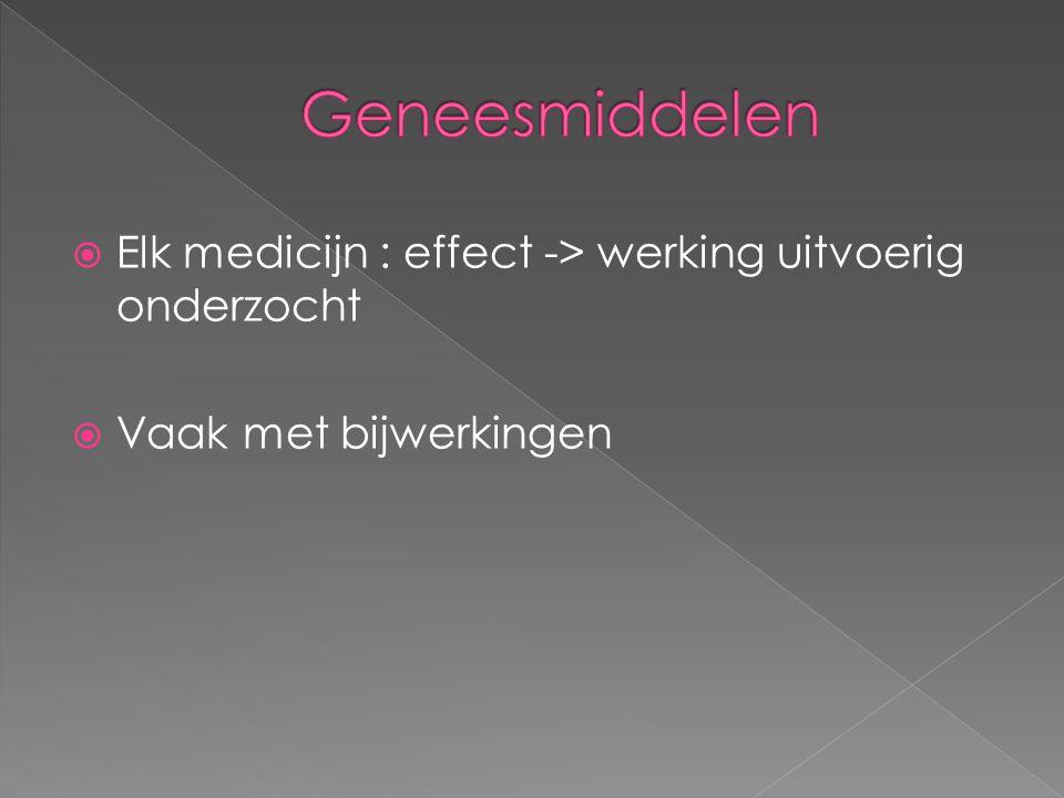 Geneesmiddelen Elk medicijn : effect -> werking uitvoerig onderzocht Vaak met bijwerkingen
