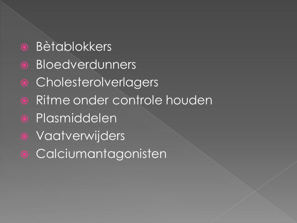 Bètablokkers Bloedverdunners. Cholesterolverlagers. Ritme onder controle houden. Plasmiddelen. Vaatverwijders.
