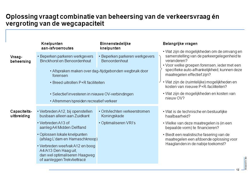 Oplossing vraagt combinatie van beheersing van de verkeersvraag én vergroting van de wegcapaciteit