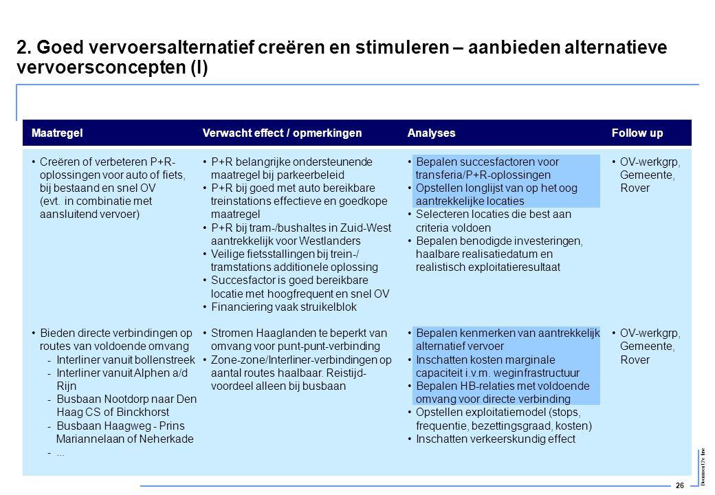 2. Goed vervoersalternatief creëren en stimuleren – aanbieden alternatieve vervoersconcepten (I)