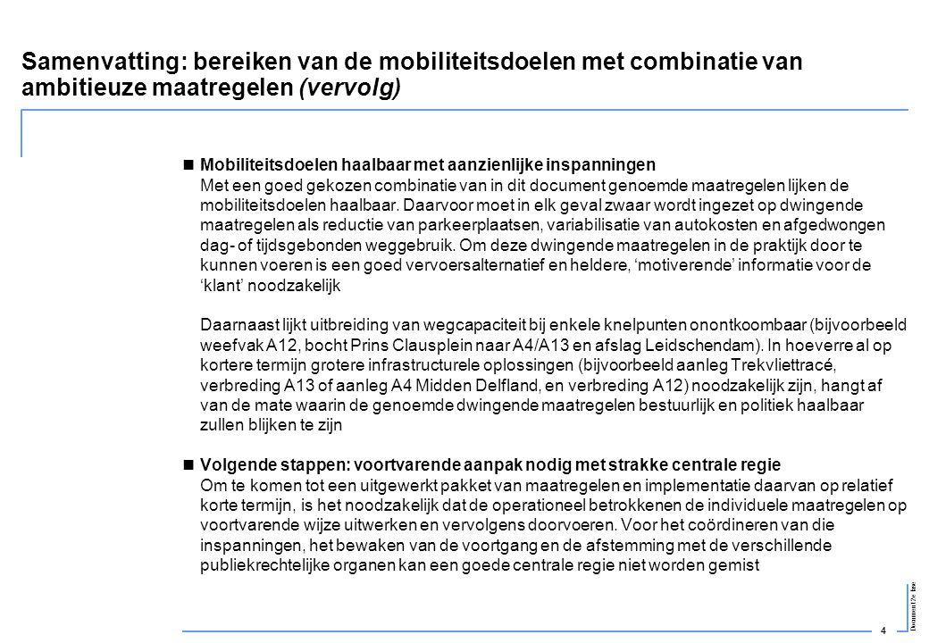 Samenvatting: bereiken van de mobiliteitsdoelen met combinatie van ambitieuze maatregelen (vervolg)