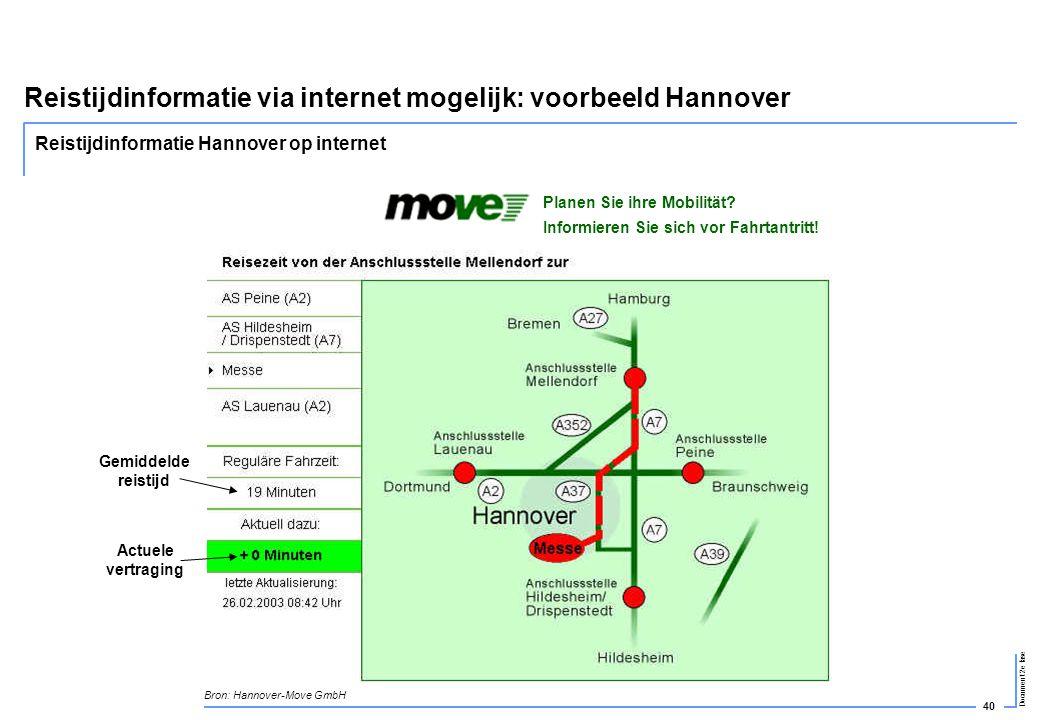 Reistijdinformatie via internet mogelijk: voorbeeld Hannover
