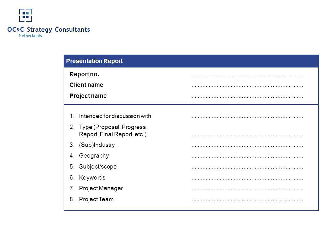 Presentation Report Report no. ......................................................................