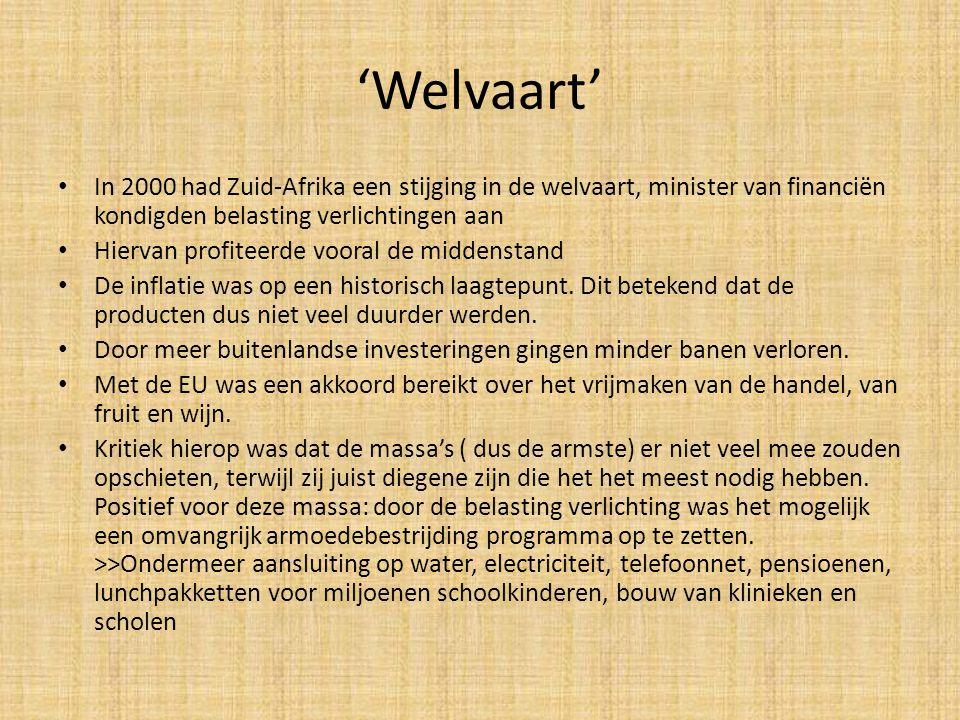 'Welvaart' In 2000 had Zuid-Afrika een stijging in de welvaart, minister van financiën kondigden belasting verlichtingen aan.
