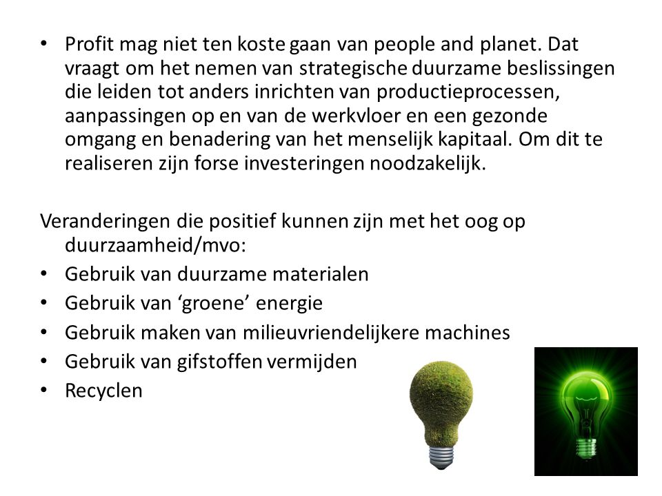 Profit mag niet ten koste gaan van people and planet