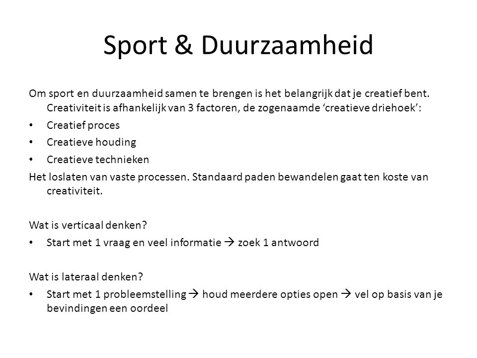 Sport & Duurzaamheid
