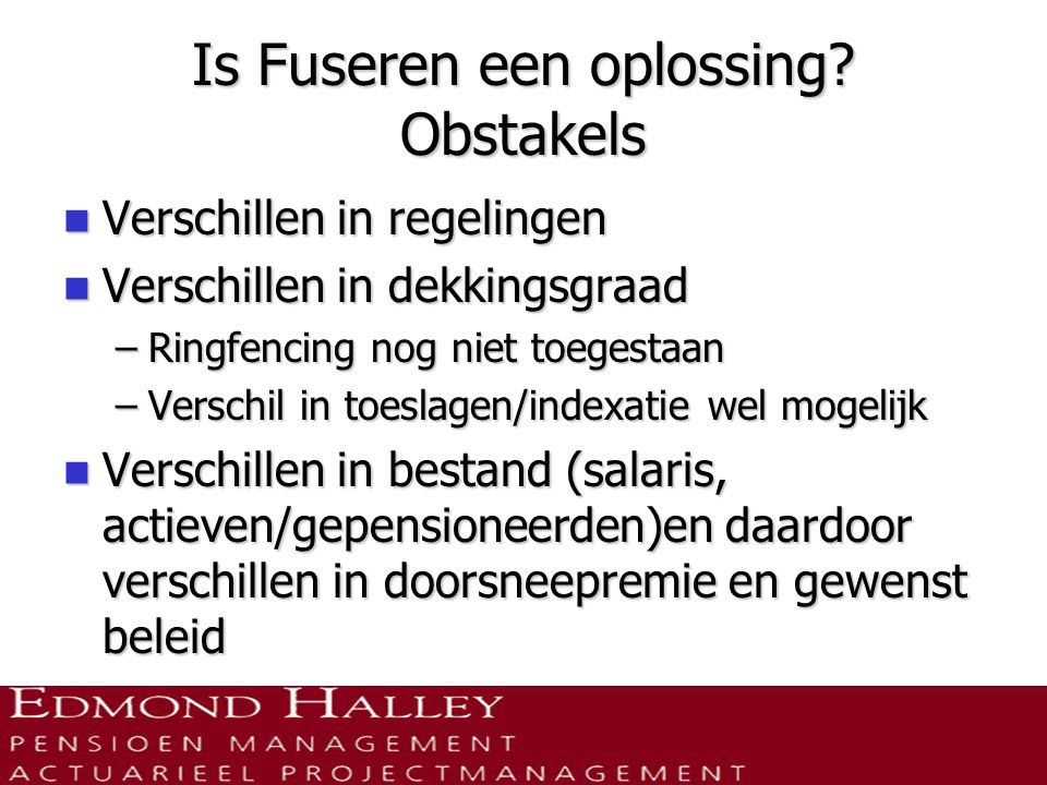 Is Fuseren een oplossing Obstakels