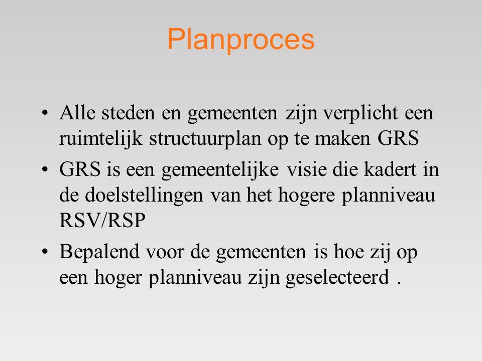 Planproces Alle steden en gemeenten zijn verplicht een ruimtelijk structuurplan op te maken GRS.