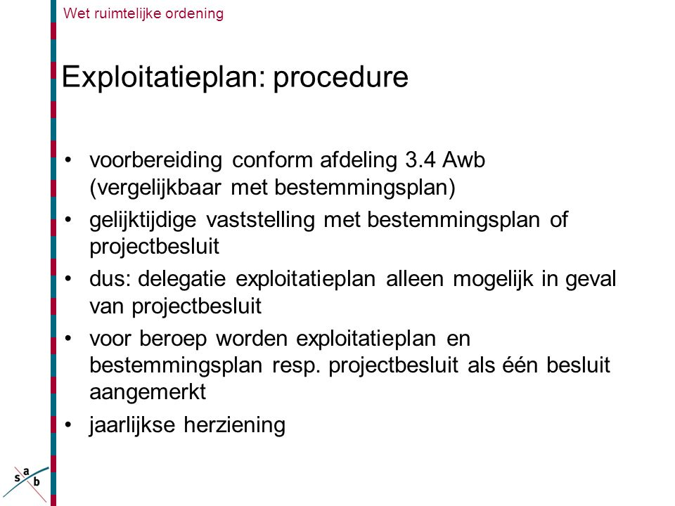 Exploitatieplan: procedure