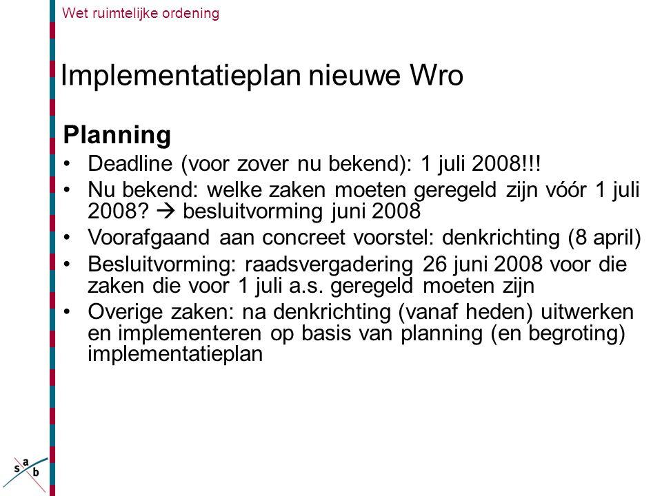 Implementatieplan nieuwe Wro