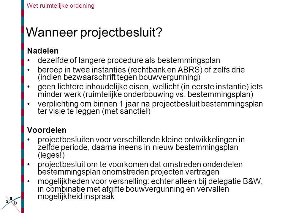 Wanneer projectbesluit