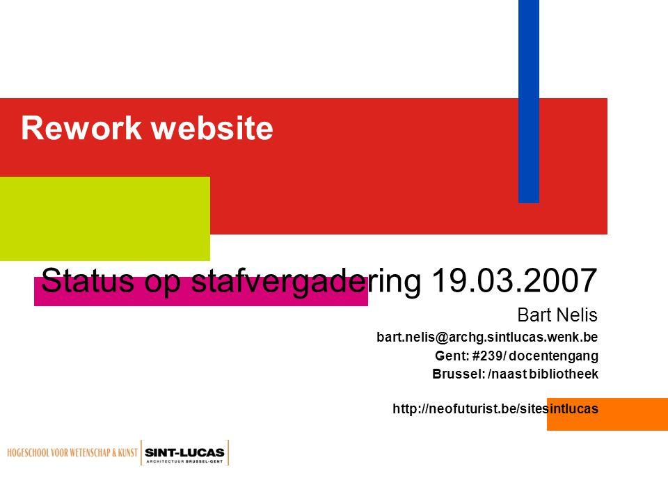 Status op stafvergadering 19.03.2007