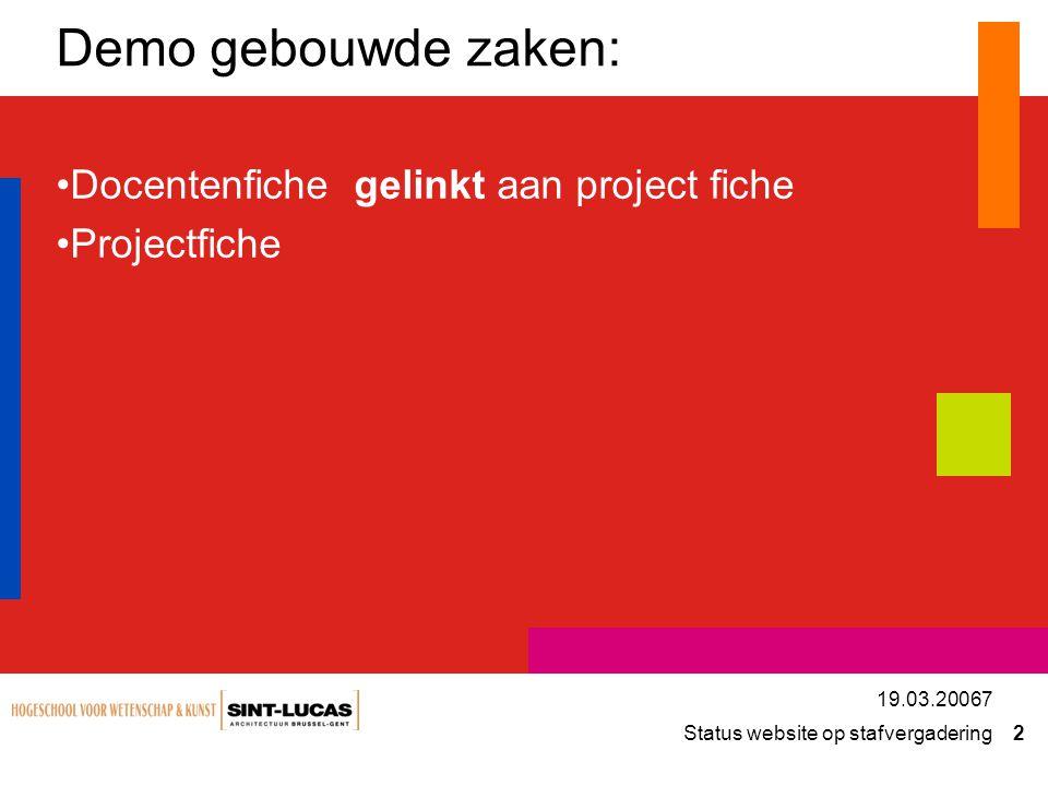 Demo gebouwde zaken: Docentenfiche gelinkt aan project fiche