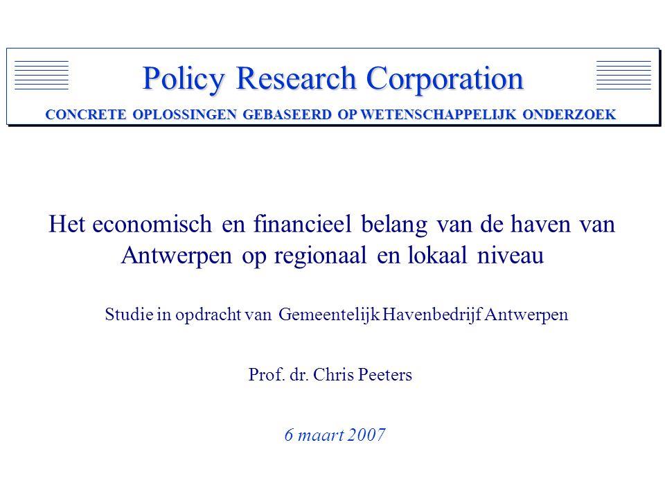 Het economisch en financieel belang van de haven van Antwerpen op regionaal en lokaal niveau Studie in opdracht van Gemeentelijk Havenbedrijf Antwerpen