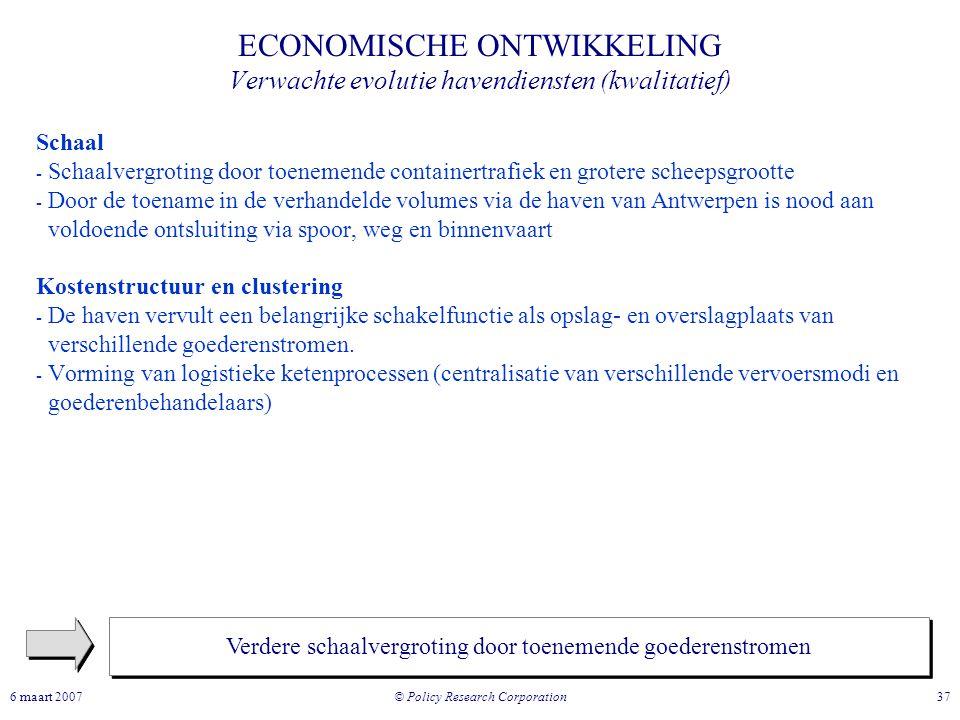 ECONOMISCHE ONTWIKKELING Verwachte evolutie havendiensten (kwalitatief)
