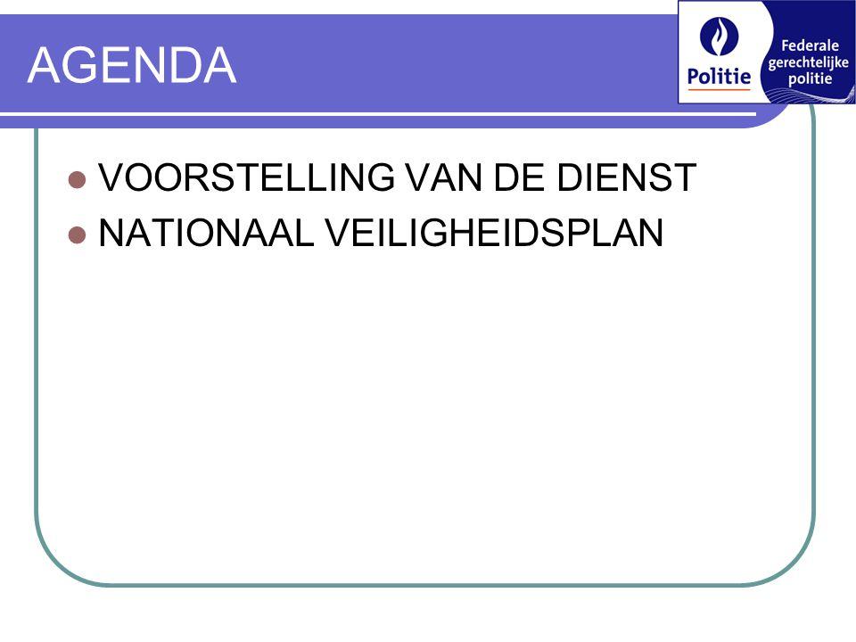 AGENDA VOORSTELLING VAN DE DIENST NATIONAAL VEILIGHEIDSPLAN 7