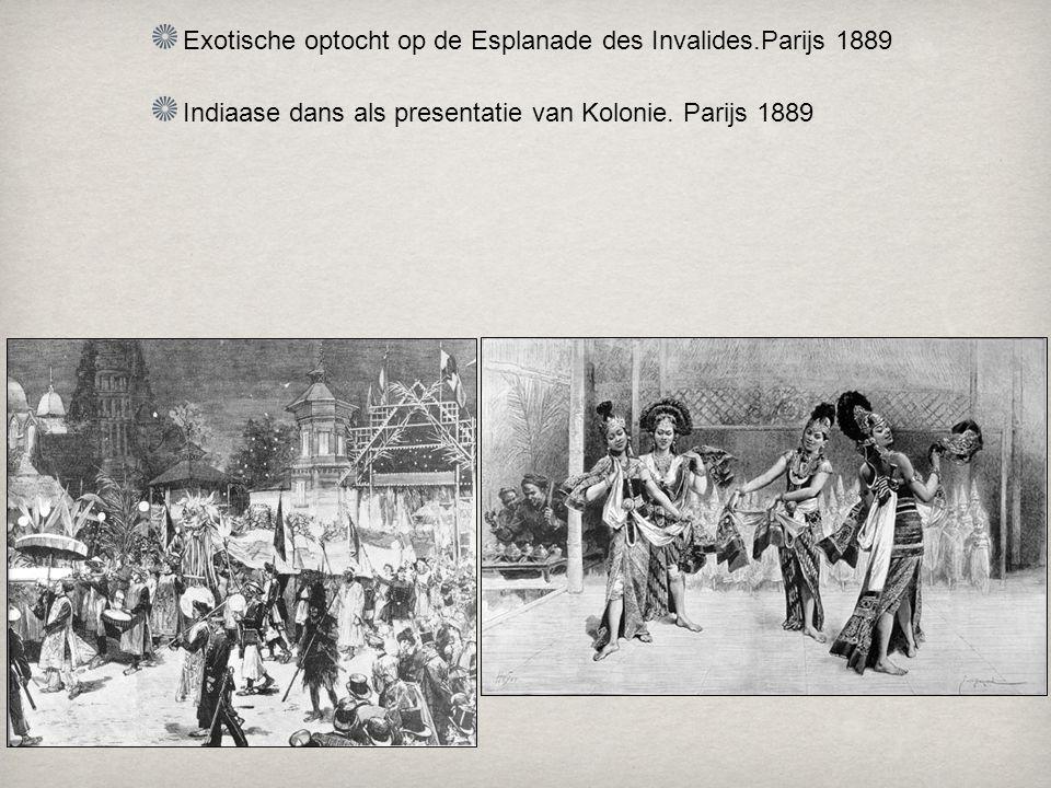 Exotische optocht op de Esplanade des Invalides.Parijs 1889
