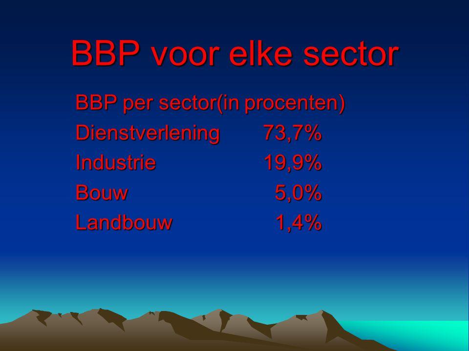 BBP voor elke sector BBP per sector(in procenten)