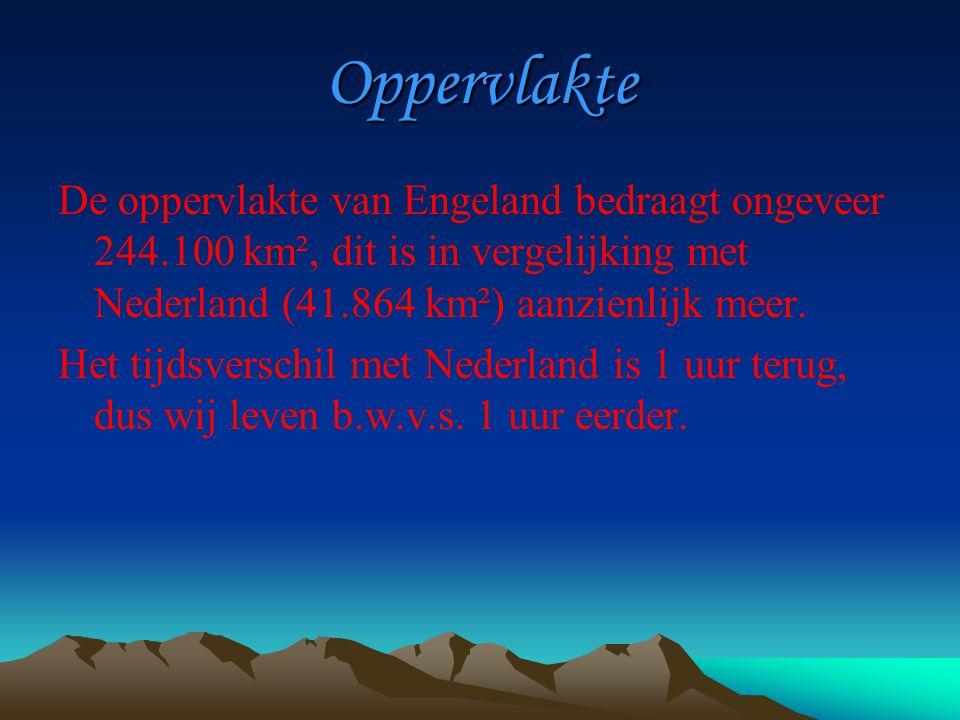 Oppervlakte De oppervlakte van Engeland bedraagt ongeveer 244.100 km², dit is in vergelijking met Nederland (41.864 km²) aanzienlijk meer.