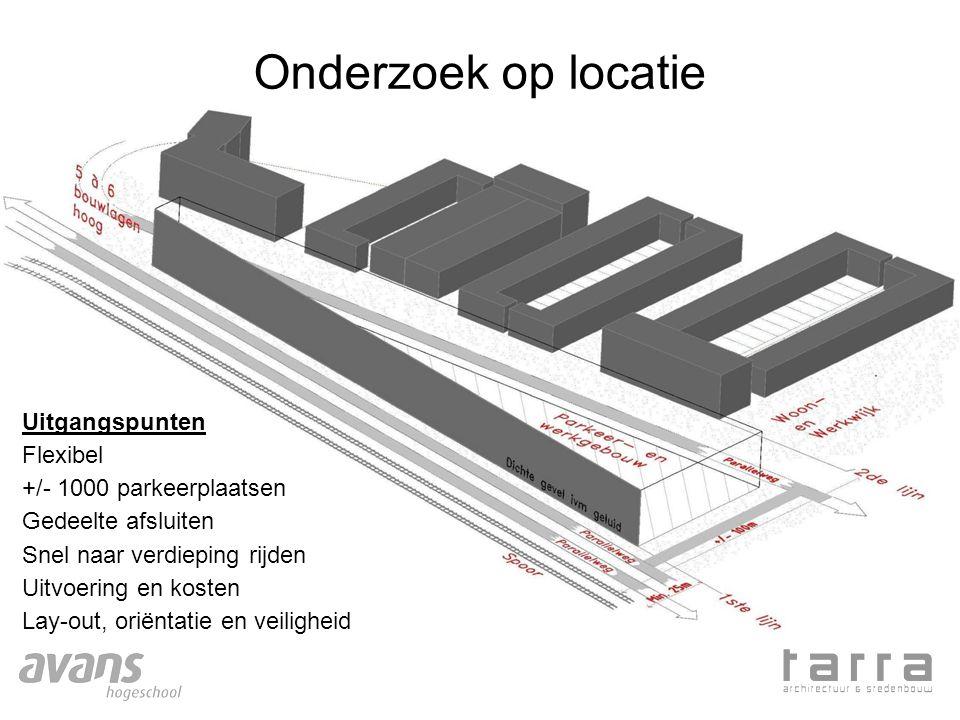 Onderzoek op locatie Uitgangspunten Flexibel +/- 1000 parkeerplaatsen