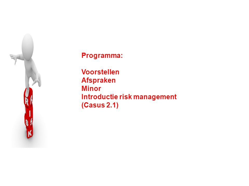 Programma: Voorstellen Afspraken Minor Introductie risk management (Casus 2.1)