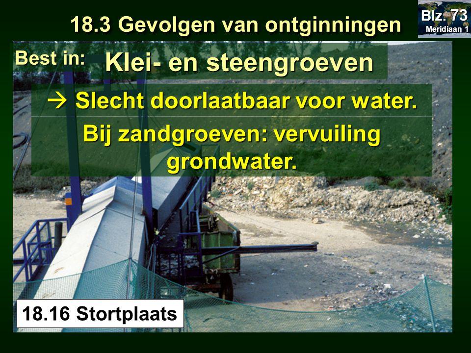 Klei- en steengroeven  Slecht doorlaatbaar voor water.