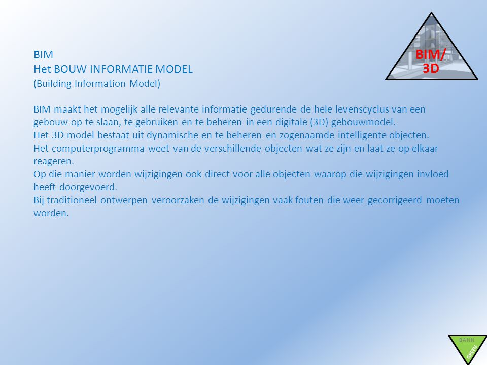 BIM/3D BIM Het BOUW INFORMATIE MODEL (Building Information Model)