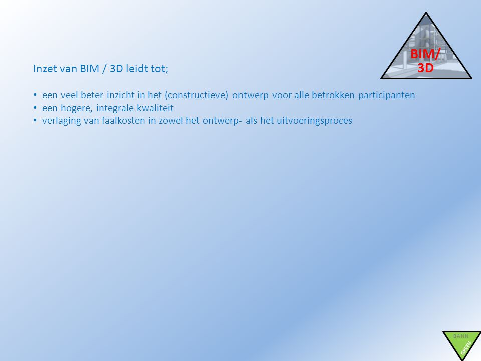 BIM/3D Inzet van BIM / 3D leidt tot;