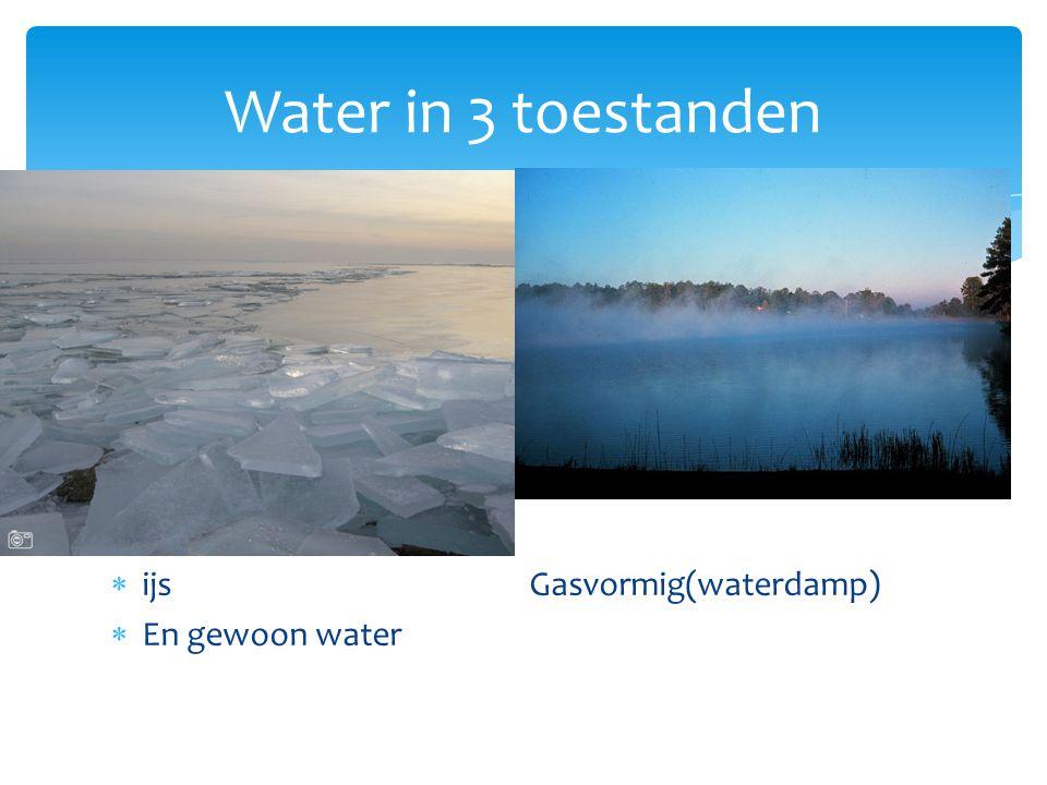 Water in 3 toestanden ijs Gasvormig(waterdamp) En gewoon water