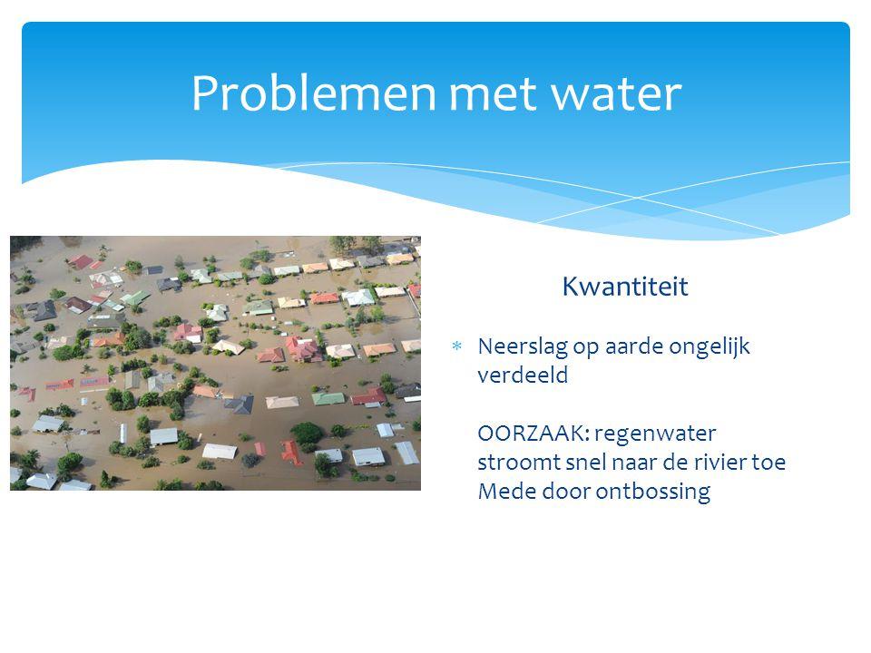 Problemen met water Kwaliteit Kwantiteit