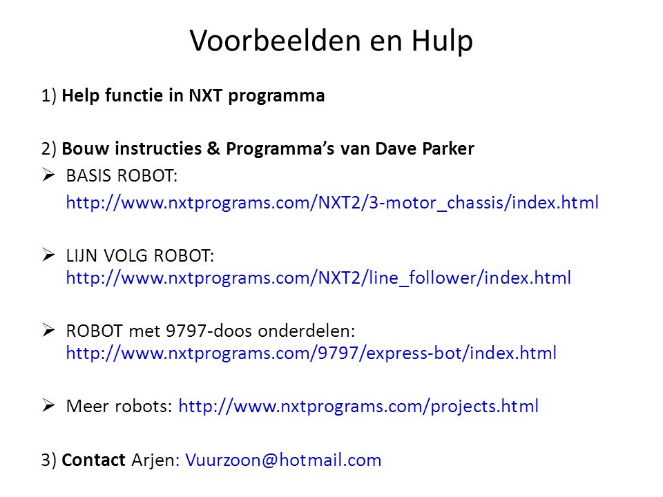 Voorbeelden en Hulp 1) Help functie in NXT programma