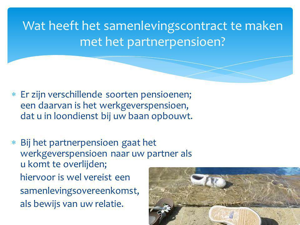 Wat heeft het samenlevingscontract te maken met het partnerpensioen