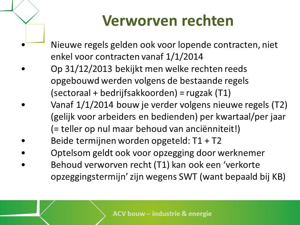 Verworven rechten • Nieuwe regels gelden ook voor lopende contracten, niet enkel voor contracten vanaf 1/1/2014.